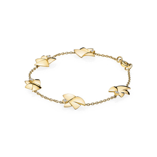 Utzon Jewellery Copenhagen – Smykker – Angel of Purity fem engle armbånd i 18 karat guld med brillant