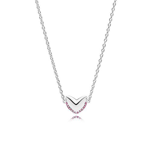 Utzon Jewellery Copenhagen – Smykker – Hearts-halskæde i sølv med pink safir
