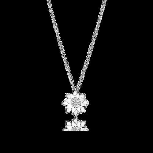 Lotus halskæde - brillanter i 18K hvidguld
