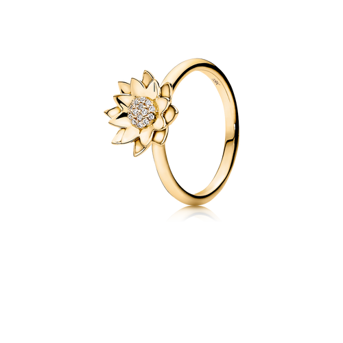 Lotus ring - brillanter i 18K guld