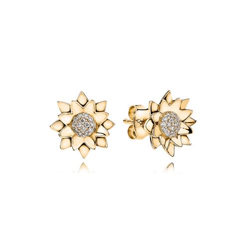 Lotus øreringe -  brillanter i 18K guld