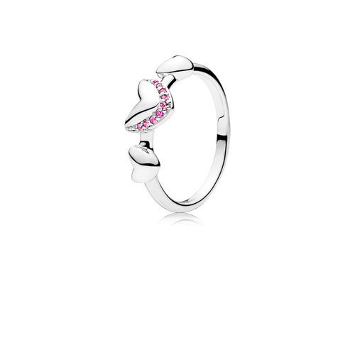 Utzon Jewellery Copenhagen – Smykker – Hjertering i sølv med pink safir