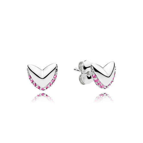Utzon Jewellery Copenhagen – smykker – hjerteøreringe i sølv med pink safir