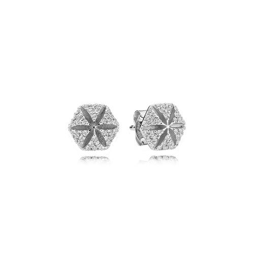 Utzon Jewellery Copenhagen – Smykker – Hexagon øreringe i sølv med hvide safirer