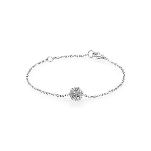 Utzon Jewellery Copenhagen – Smykker – Hexagon armbånd i sølv med hvide safirer