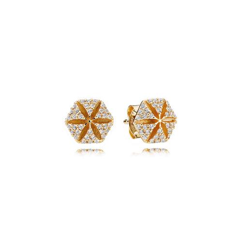 Utzon Jewellery Copenhagen – Smykker – Hexagon øreringe i 18 karat guld med Top Wesselton brillanter