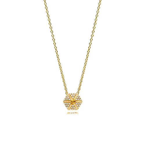 Utzon Jewellery Copenhagen – Smykker – Hexagon-halskæde i 18 karat guld med brillanter