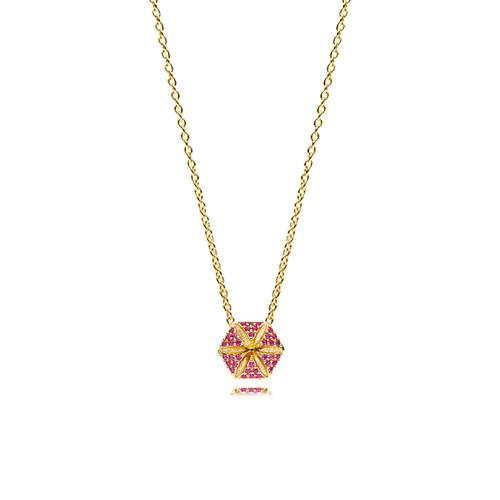 Utzon Jewellery Copenhagen – Smykker – Hexagon halskæde i 18 karat guld med rubiner
