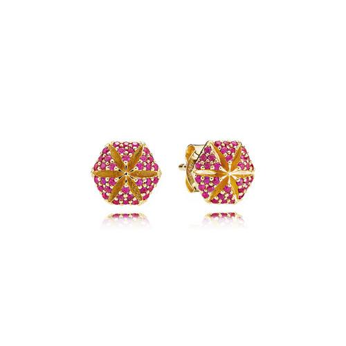 Utzon Jewellery Copenhagen – Smykker – Hexagon øreringe i 18 karat guld med rubiner