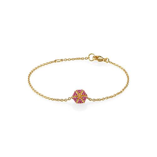 Utzon Jewellery Copenhagen – Smykker – Hexagon armbånd i guld/rubin