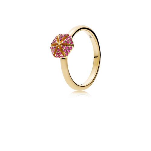 Utzon Jewellery Copenhagen – Smykker – Hexagon ring i guld/rubin