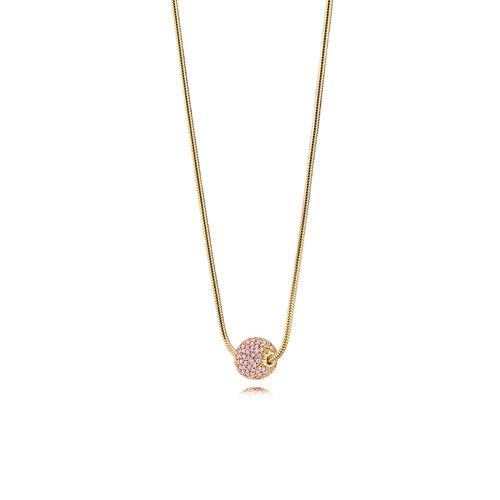 Utzon Jewellery Copenhagen - Smykker - Sphere halskæde i guld med pink safir