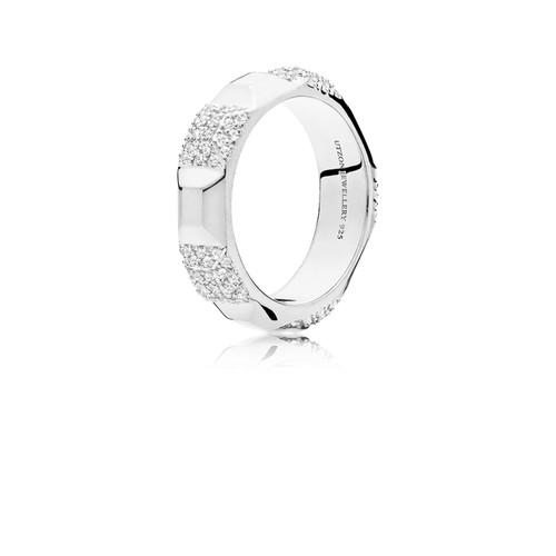 Utzon Jewellery Copenhagen – Smykker - stor pyramid ring i sølv med hvide safirer