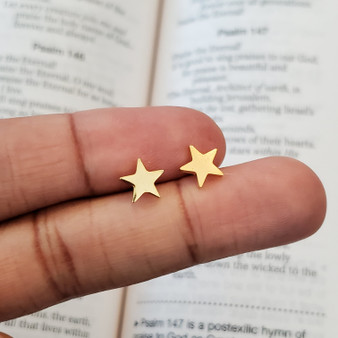 Tiny Gold Star Stud Earrings