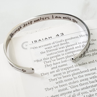 Stainless Steel Through Deep Waters Isaiah 43:2 Mantra Cuff