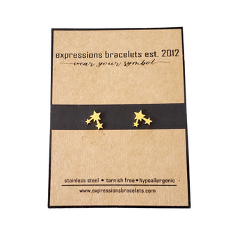 Tiny Gold Triple Star Earring Studs