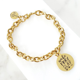 Gold Chain Wake Pray Slay Gold Charm Bracelet
