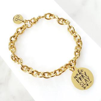 Gold Chain Wake Pray Slay Gold Charm Bracelet