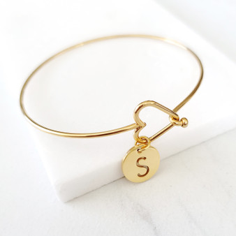 Dainty Gold Personalized Initial Charm Heart Bangle