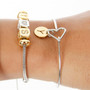 Dainty Silver Personalized Initial Gold Charm Heart Bangle