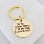 To Do List Coffee First Quote Gold Key Charms