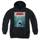 Jaws Lined Poster Youth Pullover Hoodie Sweatshirt Black