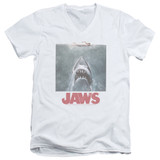 Jaws Distressed Jaws Adult V-Neck T-Shirt White