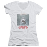 Jaws Distressed Jaws Junior Women's V-Neck T-Shirt White