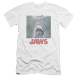 Jaws Distressed Jaws Premium Adult 30/1 T-Shirt White