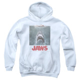 Jaws Distressed Jaws Youth Pullover Hoodie Sweatshirt White