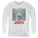 Jaws Distressed Jaws Youth Long Sleeve T-Shirt White