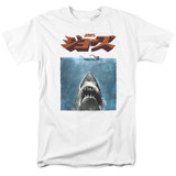 Jaws Japanese Poster Adult 18/1 T-Shirt White