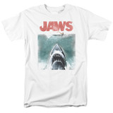 Jaws Vintage Poster Adult 18/1 T-Shirt White