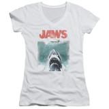 Jaws Vintage Poster Junior Women's V-Neck T-Shirt White