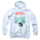 Jaws Vintage Poster Youth Pullover Hoodie Sweatshirt White