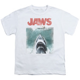 Jaws Vintage Poster Youth T-Shirt White