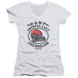 Friday the 13th Camp Counselor Junior Women's V-Neck T-Shirt White