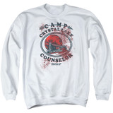 Friday the 13th Camp Counselor Victim Adult Crewneck Sweatshirt White