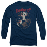 Friday the 13th Rough Mask Adult Long Sleeve T-Shirt Navy