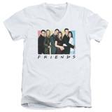 Friends Cast Logo Adult V-Neck T-Shirt White