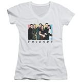 Friends Cast Logo Junior Women's V-Neck T-Shirt White