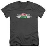 Friends Central Perk Logo Adult V-Neck T-Shirt 30/1 Charcoal