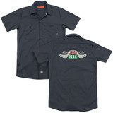 Friends Central Perk Logo (Back Print) Adult Work Shirt Charcoal