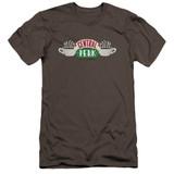 Friends Central Perk Logo Premuim Canvas Adult Slim Fit 30/1 T-Shirt Charcoal