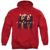 Friends Cast In Black Adult Pullover Hoodie Sweatshirt Red