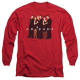 Friends Cast In Black Adult Long Sleeve T-Shirt Red