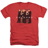 Friends Cast In Black Adult Heather T-Shirt Red