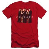 Friends Cast In Black Premuim Canvas Adult Slim Fit 30/1 T-Shirt Red