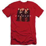 Friends Cast In Black Adult 30/1 T-Shirt Red