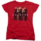 Friends Cast In Black Women's T-Shirt Red